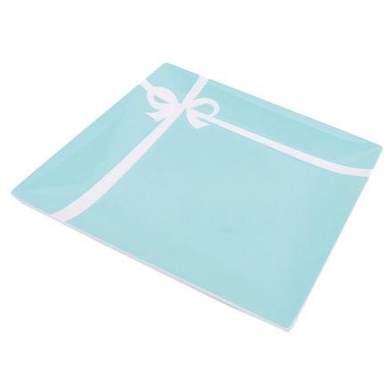 預購。裕子的店。優雅瓷器生活。白色蝴蝶絲帶TIFFANY綠陶瓷盤子 - 1入【jp1220-298】