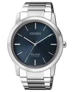 CITIZEN星辰AW2020-82L時尚鈦金屬光動能腕錶藍面41mm