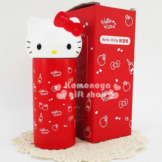 〔小禮堂〕Hello Kitty 不鏽鋼造型保溫瓶《.紅.大臉.蘋果小愛心滿版.230ml》保溫.保冷OK!