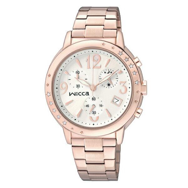 CITIZEN星辰WICCA(BM1-121-11)玫瑰金三環時尚典雅腕錶/白面34mm