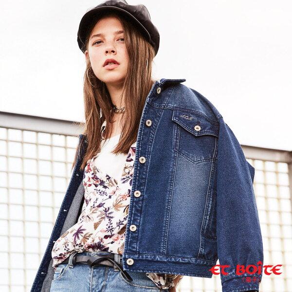 【春夏新品】男孩風落肩針織牛仔外套-BLUEWAYETBOiTE箱子