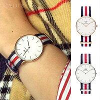 情人對錶推薦到【Cadiz】瑞典正品 Daniel Wellington 手錶 0502DW玫瑰金 0606DW銀色 CLASSIC CANTERBURY 藍白紅尼龍錶帶 蛋殼白錶盤 36mm 對錶 情侶錶 男女錶 兩年保固就在Cadiz代購精品推薦情人對錶