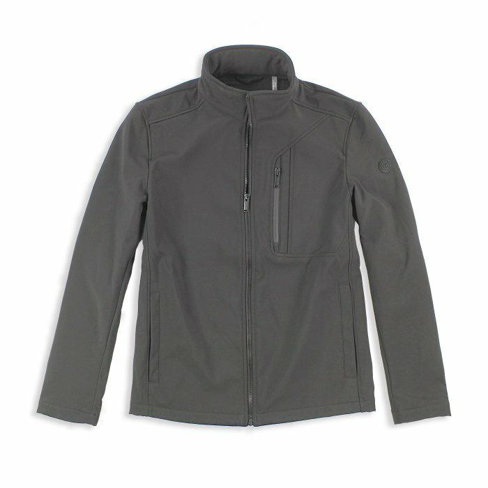 美國百分百【Calvin Klein】外套 CK 夾克 防風 防潑水 透氣 保暖 立領 軟殼 灰色 S號 I666