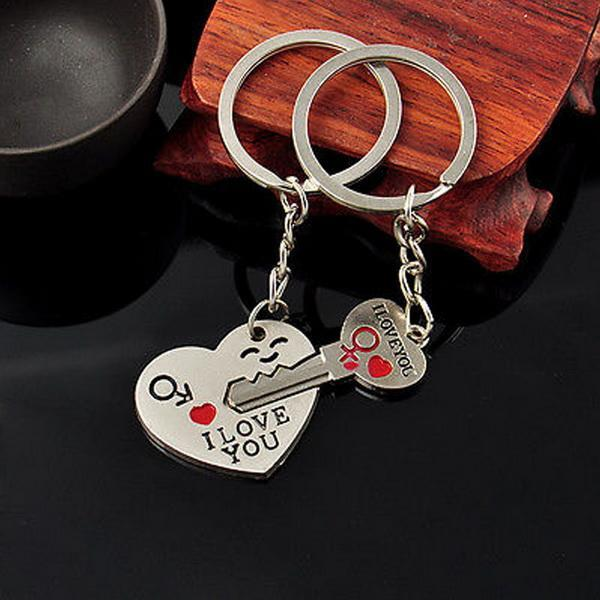 1 Pair Alloy Couple Keychain Valentine's day Gift Heart Shape Key Decor Sets 2