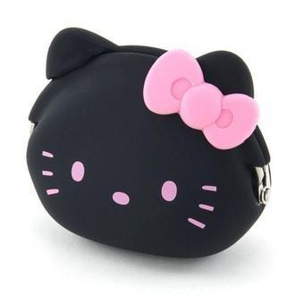 【真愛日本】13081400003 矽膠零錢包-KT頭形黑粉結 三麗鷗 Hello Kitty 凱蒂貓 零錢包 收納