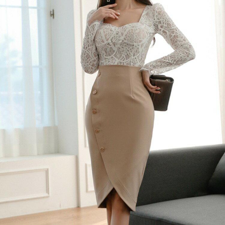 新款兩件套2021秋裝韓版修身蕾絲上衣時尚職業包臀裙套裝女