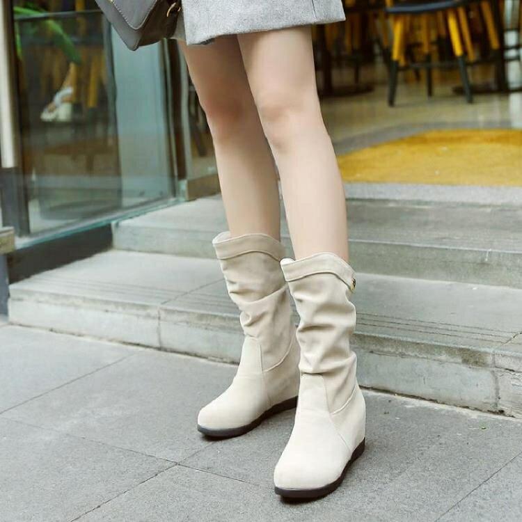 大碼中筒靴 百搭磨砂女鞋內增高中筒靴圓頭中跟短靴子春秋馬丁靴英倫新款中靴