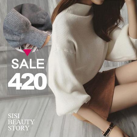SiSi Girl:SISI【L6006】名媛時尚高領寬鬆蝙蝠袖燈籠袖純色針織毛衣長袖套頭上衣