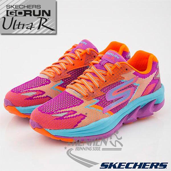 SKECHERS 女慢跑鞋GO Run Ultra R (桃紅x繽紛) 跑步系列  路跑  簡嫚書代言款