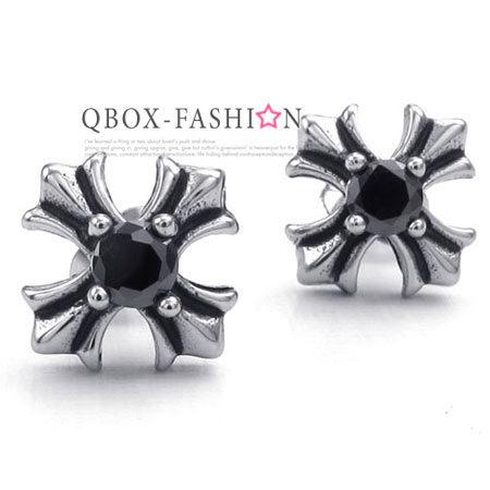 QBOX Fashion 飾品:《QBOX》FASHION飾品【W10023126】精緻個性復古十字架鋯石鑄造316L鈦鋼插式耳環(黑色)