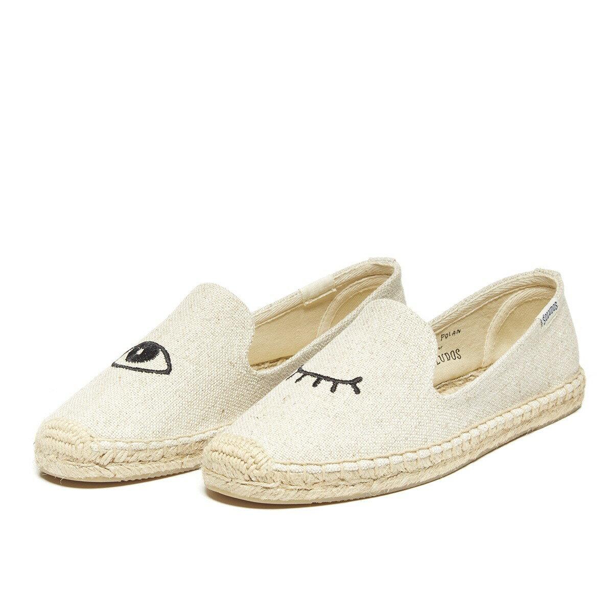 【Soludos】美國經典草編鞋-塗鴉系列草編鞋-米色眨眼