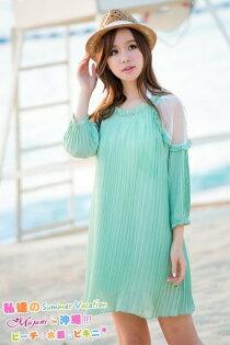 [瑪嘉妮Majani]中大尺碼 日系中大尺碼 雪紡紗 修飾身形 性感小露肩 洋裝 甜美浪漫風 特價490元 ds-192
