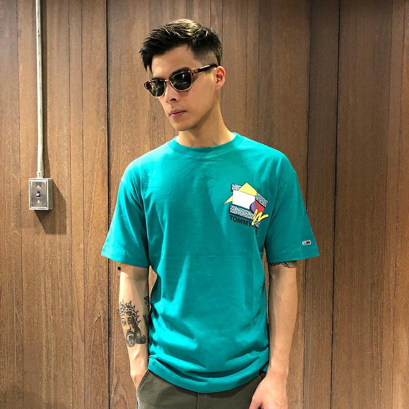 美國百分百【全新真品】Tommy Hilfiger 短袖T恤 TH Logo T-Shirt 短T 寬鬆版 綠色 S號 Ai24