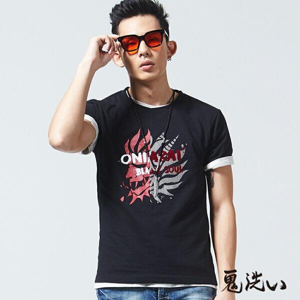 【限時5折】剪接錯位鬼頭短袖T恤(黑)-BLUEWAYONIARAI鬼洗