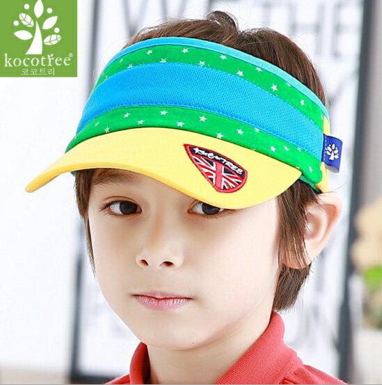 Kocotree◆ 米字旗徽章亮眼配色透氣兒童休閒防曬空頂帽~黃色帽沿