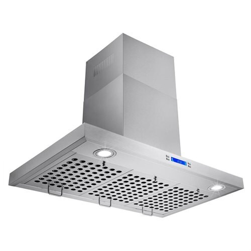 "30"" Stainless Steel Wall Mount Range Hood Display Light Lamp Baffle Filter Ductless Vented 2"