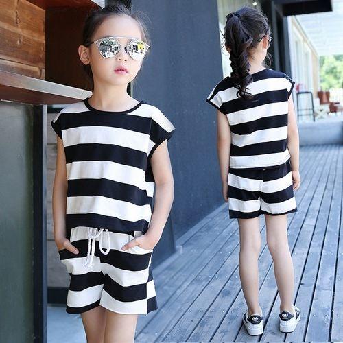 中大童短袖套裝條紋短袖上衣T恤+條紋短褲二件式春夏童裝MC0243好娃娃