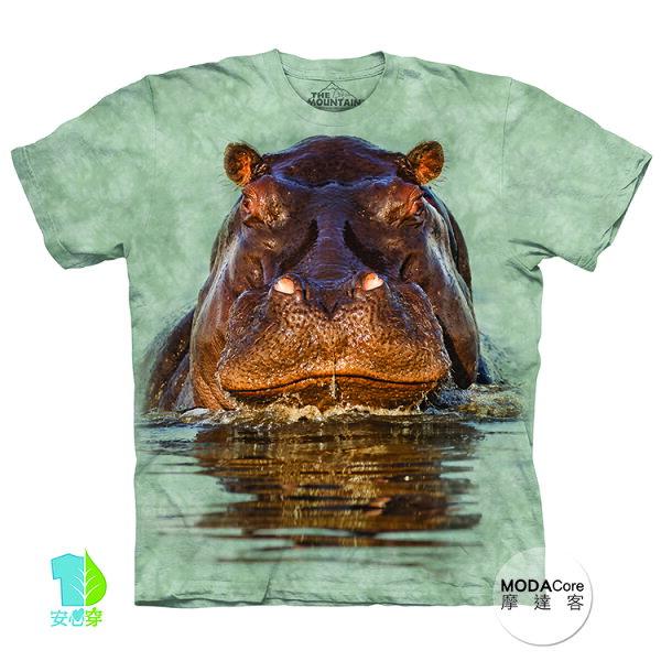 【摩達客】(預購)美國進口TheMountain泡澡河馬純棉環保藝術中性短袖T恤