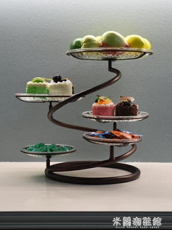 水果盤歐式鐵藝多層水果盤蛋糕架創意客廳下午茶點心托盤婚慶小吃糕點臺--品質保證