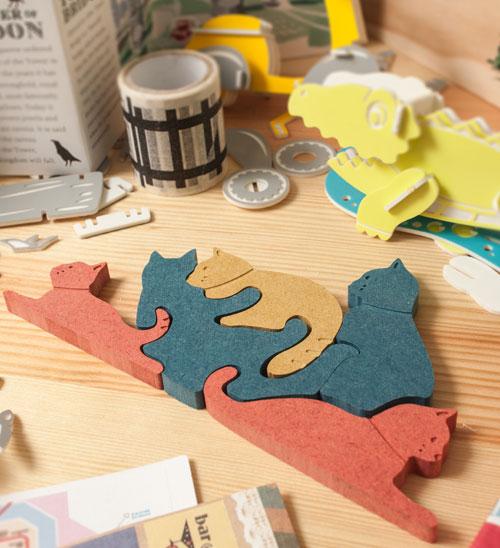 趣味兒童立體木拼圖-玩耍貓咪