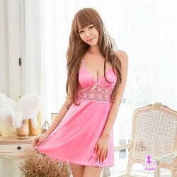 【妮薇NIVIE情趣用品】俏麗粉紅色柔緞美背造型性感睡衣WNA16020089