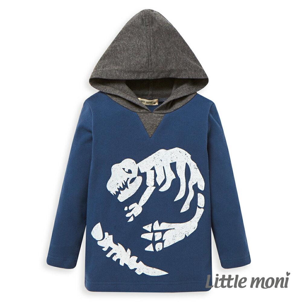 Little moni 恐龍化石連帽上衣-午夜藍 0