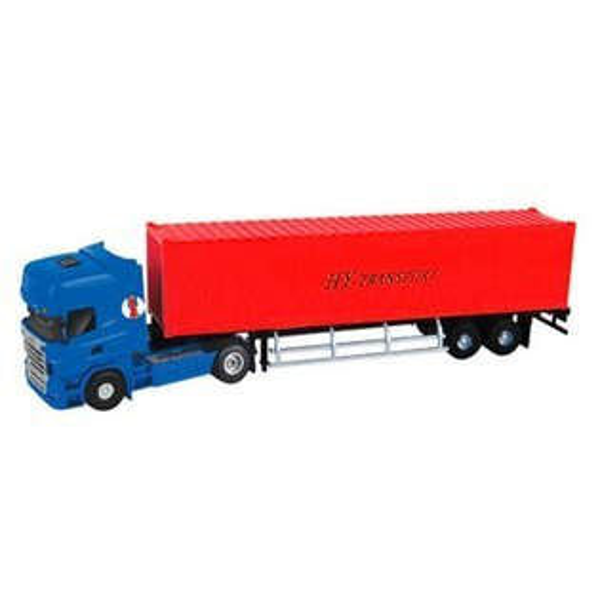 【888便利購】HY1:50高仿真合金貨櫃車(紅色)(5012-23)(授權)