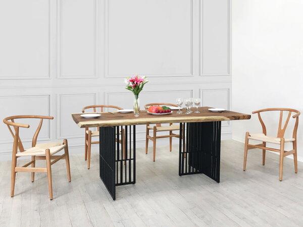!新生活家具!《亞倫》210cm餐桌雨豆木58cm厚桌板黑色烤漆鐵腳工業風商業空間