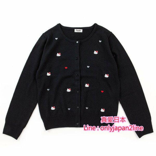 【真愛日本】16091500006長袖針織衫-KT刺繡滿版黑   三麗鷗 Hello Kitty 凱蒂貓  衣服