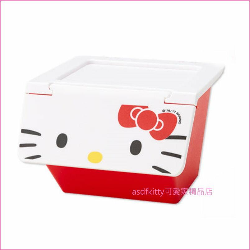 asdfkitty可愛家☆KITTY前開式有蓋收納箱/置物箱-S-可堆疊-可放雜物.零食.玩具...等小東西-日本版正版
