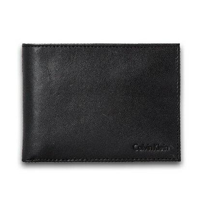 美國百分百【全新真品】Calvin Klein 皮夾 CK 短夾 黑 二折 皮革 鑰匙圈 鈔票層 專櫃 男 C749