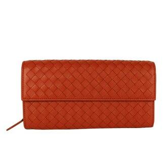 【BOTTEGA VENETA】 小羊皮 二折 壓釦 零錢袋 長夾 (夕陽橘色) 150509 V001N 7511