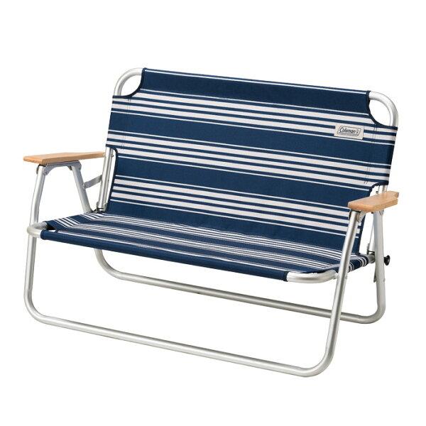 悠活運動家:《台南悠活運動家》Coleman美國輕鬆折疊長椅經典條紋藍CM-31287
