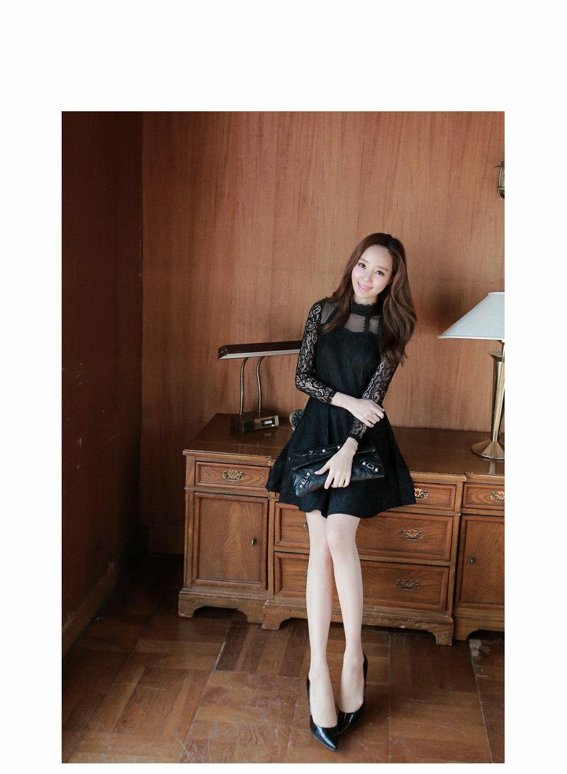 *原價599現折100*AT日韓-皇冠高領蕾絲洋裝2色【809042】 1