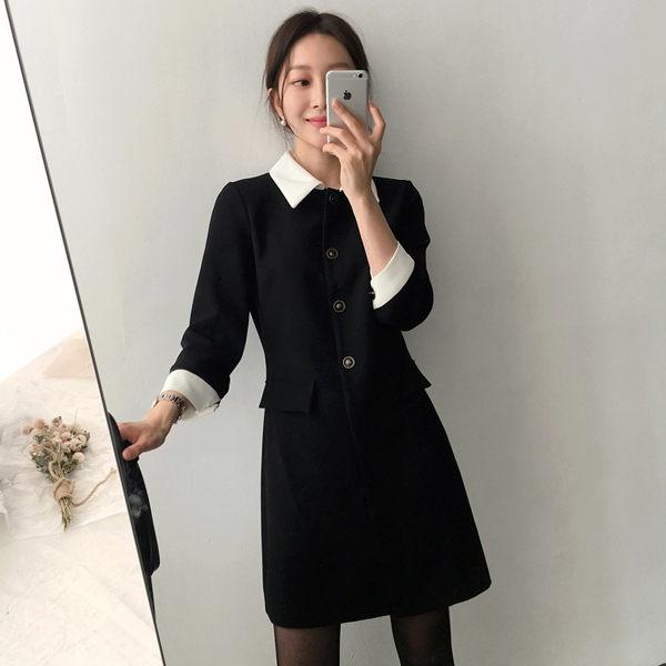 PSMall風氣質名媛撞色領顯瘦連身裙洋裝【T2347】