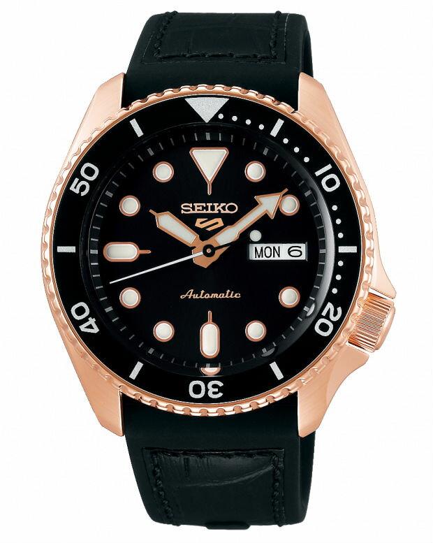 Seiko 精工5號 Sports 系列 4R36-07G0J(SRPD76K1) 玫瑰金/運動時尚潮流機械腕錶 / 黑色面 42.5mm特殊商品不配合店家優惠券