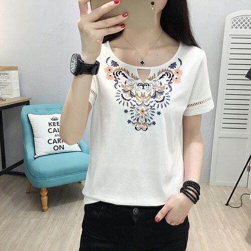 *ORead*圓領鏤空刺繡短袖T恤(白色M~2XL)
