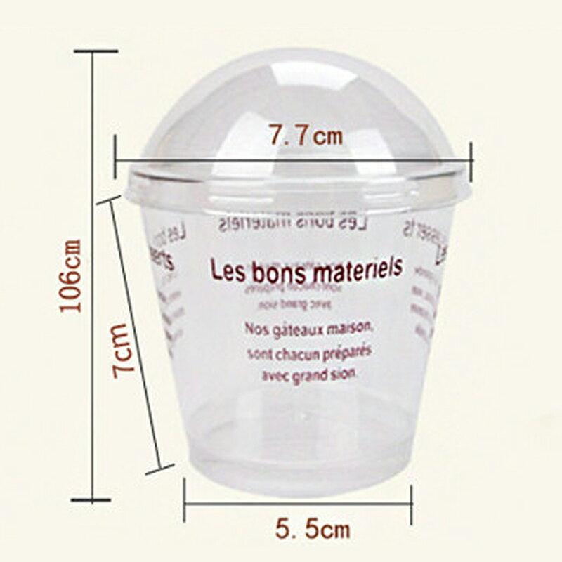 一次性木糠杯酸奶布丁帶蓋木康雙皮奶透明塑料甜品慕斯蛋糕杯子