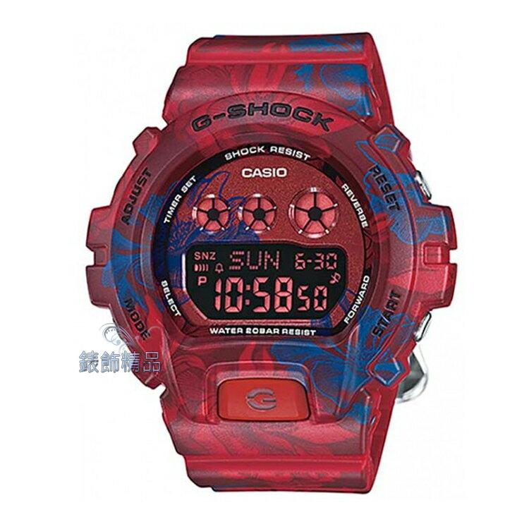 【錶飾精品】現貨CASIO卡西歐G-SHOCK縮小版S系列GMD-S6900F-4DR紅藍牡丹花圖騰女錶 全新原廠正品 生日 情人節 聖誕 禮物 禮品