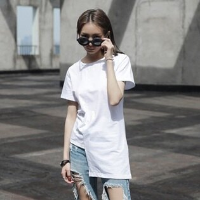 短袖T恤中長款-簡約純色個性不規則剪裁女上衣2色73sl17【獨家進口】【米蘭精品】