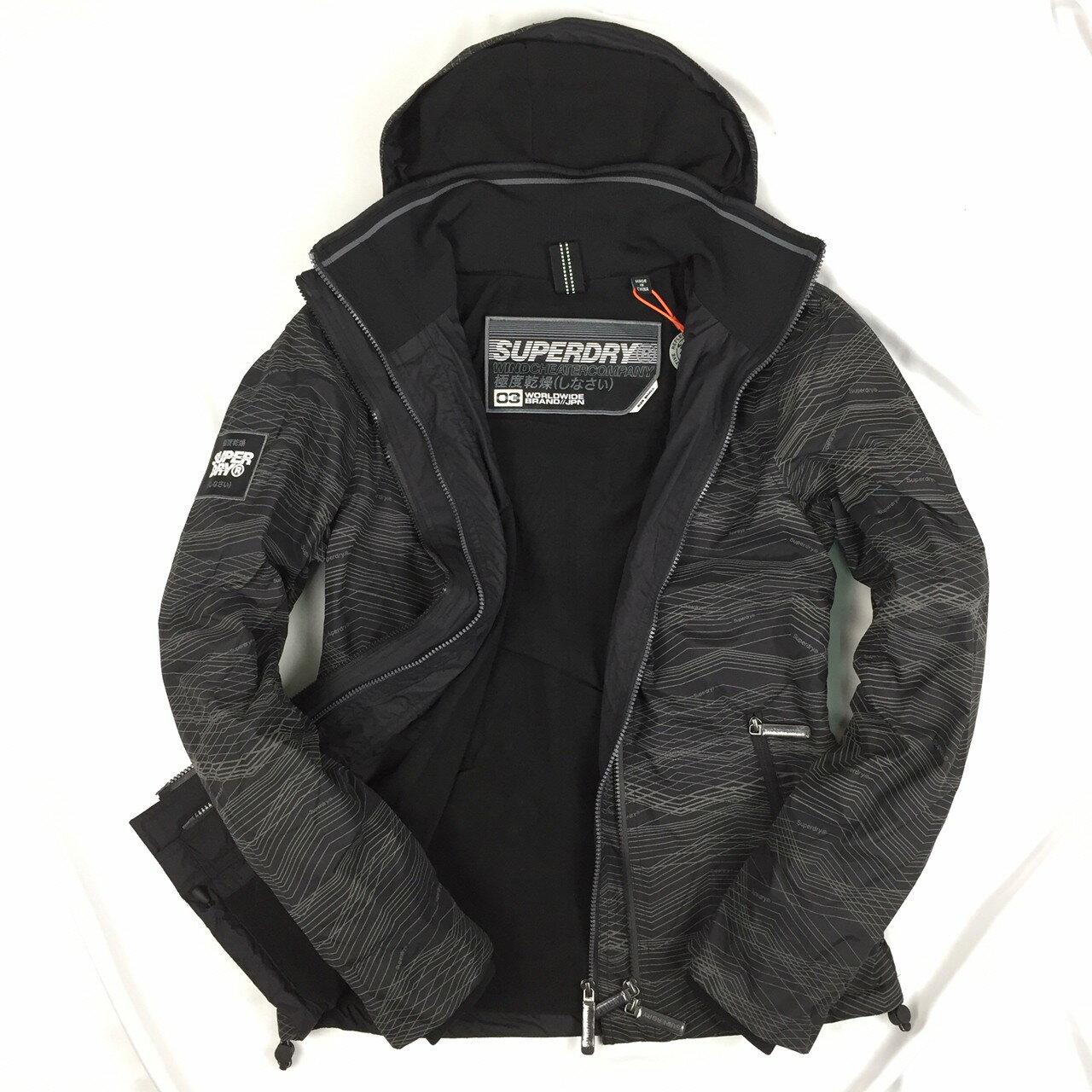 Superdry 極度乾燥外套 男款 雙拉鍊連帽夾克 防風防潑水外套 迷彩 反光印花 英國正品現貨