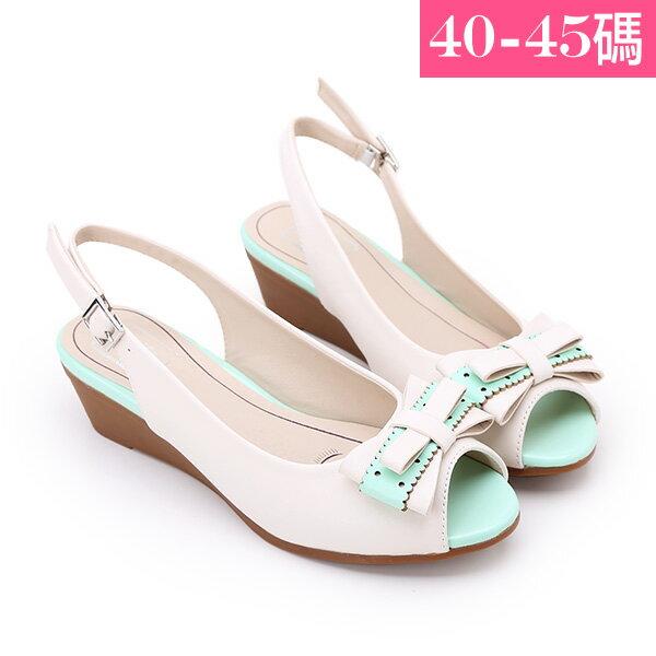 大 女鞋~春夏魚口蝴蝶結楔型涼鞋/涼鞋40~45碼~YSD0313 172巷鞋舖~
