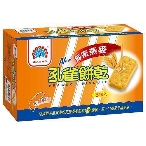 孔雀餅乾-蜂蜜燕麥120g x3入【愛買】