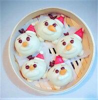 與朋友共享聖誕大餐到聖誕甜點推薦➤耶誕限定版-聖誕雪小寶造型手工牛奶饅頭5入裝
