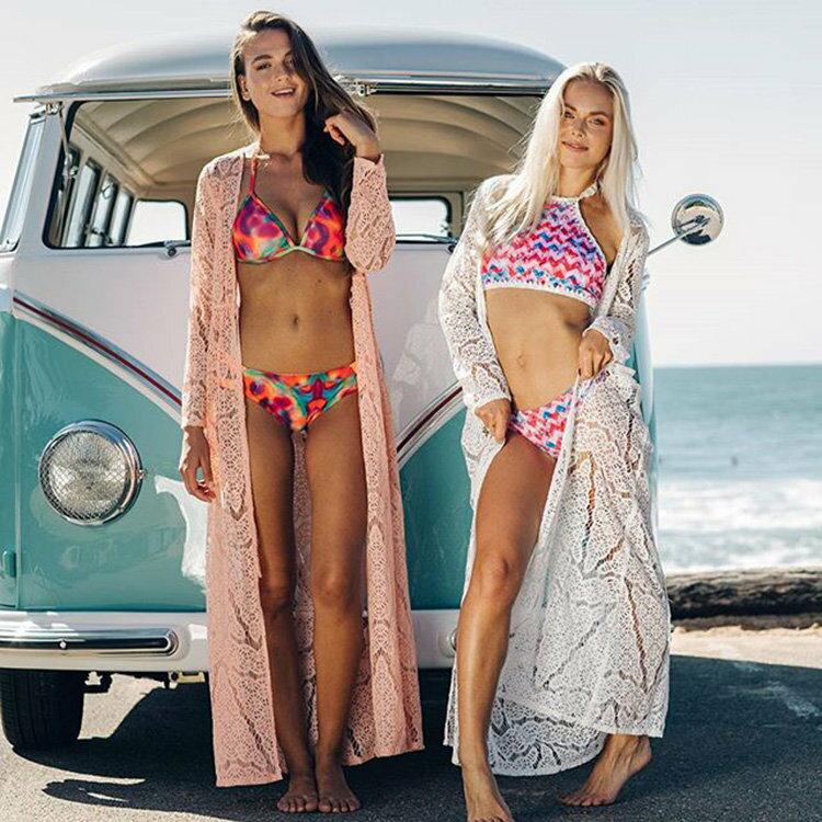 罩衫 鏤空 針織 綁帶 開襟 外套 長款 沙灘 比基尼 罩衫【ZS360】 BOBI  04 / 26 0