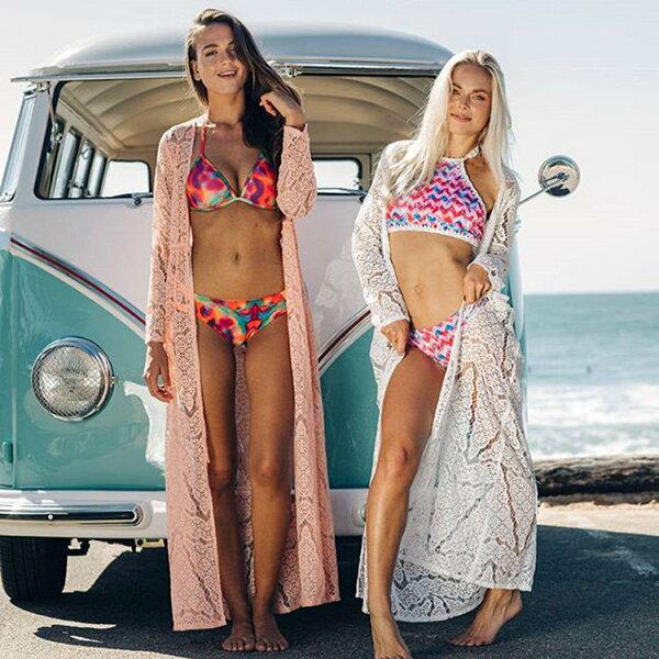 罩衫鏤空針織綁帶開襟外套長款沙灘比基尼罩衫【ZS360】BOBI0426