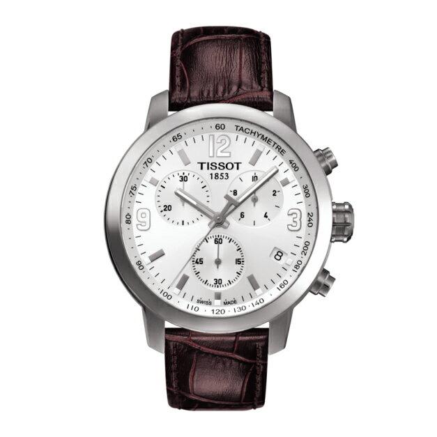 TISSOT天梭錶T0554171601701 三眼時尚計時機械錶/白面43mm