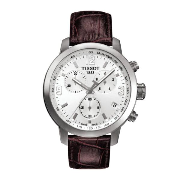 TISSOT天梭錶T0554171601701三眼時尚計時機械錶白面43mm