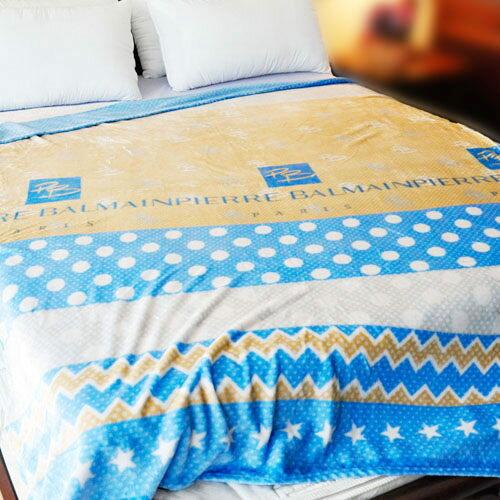 【舒適藍底】雨傘牌 法蘭絨舒眠保暖毛毯 ◆ HOUXURY台灣製