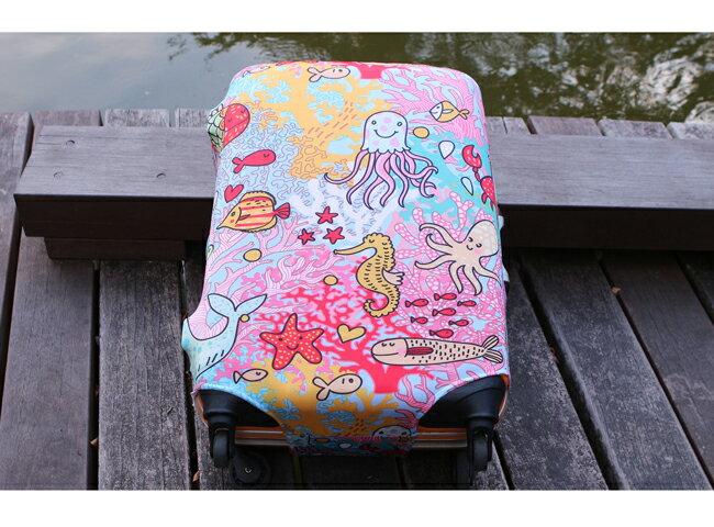 【Intermission】LCS374 海洋生態 外銷日本 彈力保護套 行李箱套 旅行箱防塵罩 防塵套 特殊圖案(M 、L號 行李箱) 3